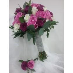 Ramo de novia rosa y morado