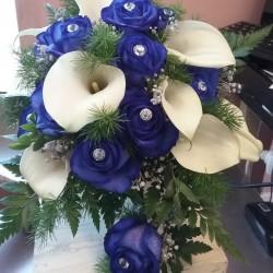 Ramo de novia blanco y azul